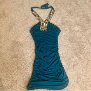 Teal Halter Body-con Dress Size XS